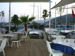 Kalkan harbour restaurants at sunset.