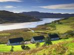 Bracadale Holiday Cottages looking over the sea loch, Loch Beag, to Portnalong