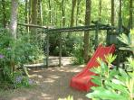 Woodland play area with trampoline & table tennis table