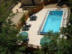 Aerial view pool surrounds in natural sun spot. Seasonal Outdoor Heated Pool - end May - Sept