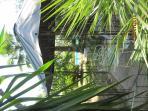 copper gazebo in the swimming pool garden