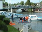 Day boat hire & view from the other side of Wroxham Bridge