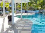 Very spacious pool deck