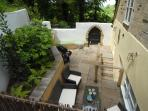The Courtyard off the dining room provides private dining in the sunshine