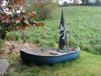 Pirate Boat sandpit in the garden