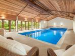 13 metre indoor swimming pool and sauna heated to a luxurious 30 degrees and open through the year