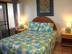 Downstairs bedroom with queen bed