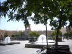 Santa Pola's town centre square, just 2 minutes' walk