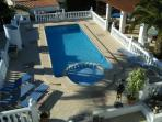 An ariel view of the swimming pool.