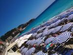 Private beaches on the Promenade des Anglais