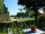 Vue de la terrasse sur la piscine