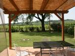 view over garden from pergola