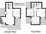 3 bedrooms upstairs, 1 bedroom downstairs, 2 bathrooms