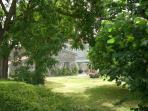 Vue sur le jardin depuis l'extérieur de la propriété