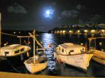 Es Castell waterfront at night (from my dining table!).