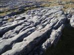the limestone pavements of Moughton formed during the last ice age by glaciers.  Clints and grikes -