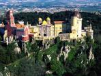 Aerial view of Pena palace in Sintra