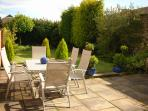 Secure private garden with outdoor furniture