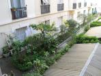 View of a courtyard garden at the back of the apartment