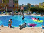 Shallow (0.3m) enclosed children's play pool and sunbathing area