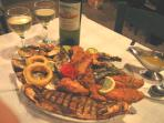 The Captain's Platter at The Captain's Table restaurant in the harbour of Molyvos