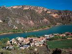 Neaby beautiful village of Llimiana overlooking Terradets lake.