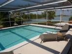 Large solar heated pool.