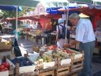 Large variety  of fresh vegetables, fruit and other treats at Caldas's open air market