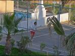 On side tennis court