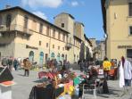 A bric a brac market in Piazza Torre da Berta (the main square in Sansepolcro).