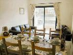 Dining area and patio doors