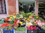 Our delightful greengrocer just across the canal!