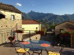 panoramic views of the Apuane mountains from your sunny terrace whilst dining alfresco