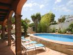 Sun and shade around the pool