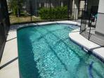 Private heated pool, south/south west facing with child safety fence