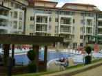 Block D of the complex with the main pool in the foreground