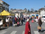 Monday morning market in nearby Chalais