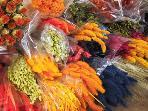 fleurs séchées sur les marchés