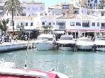 Puerto Cabopino - boats, bars & restaurants, just 5 mins walk