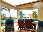 Spacious terrace with sitting, dining and sunbathing area!