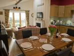 Great dining area for up to 6 people with views across the sea