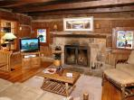 Bear Cabin #462- Living Room with Fireplace & Flat Screen TV