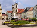 The square of Banská Bystrica, here you find many nice restaurants and terraces