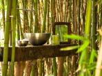 Lavabos nos Bamboos do Glamping