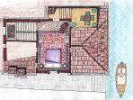 Upper level floor plan, with access to the altana.