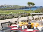 VIEW FROM THE TERRACE OVER THE GOLF COURSE TOWARDS FISTRAL BEACH
