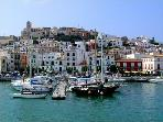 Ibiza town 10 minutes by taxi boat or 15 minutes stroll around the port