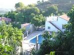 Villa Maria, view from above of gated pool terrace
