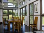 Dining area overlooking fields and Llangors mountain