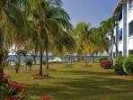 The apartment overlooks the Caribbean Sea